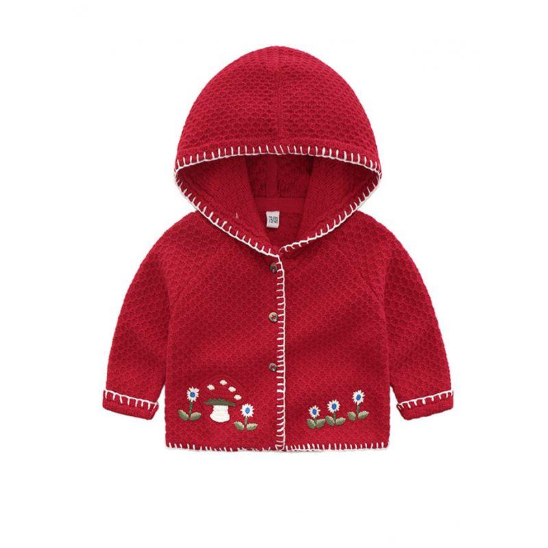 Mushroom Flower Crochet Infant Little Girl Hooded Cardigan Coat for Spring