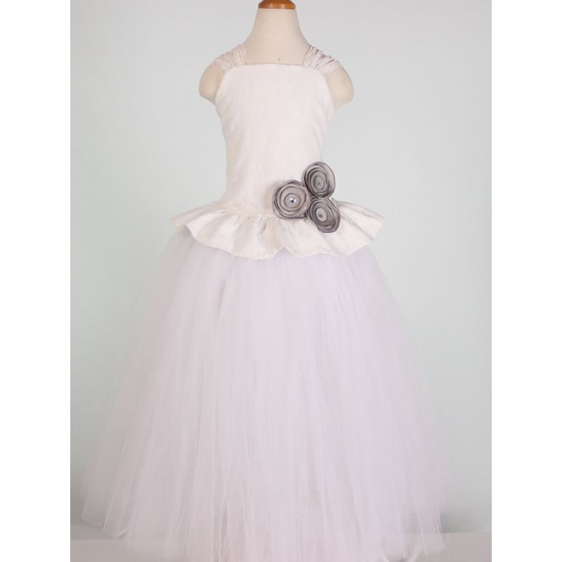 Flower Trimmed Fit & Flare Flower Girl Sleeveless Summer Bodice Dress Children Princess Evening Dress Costume