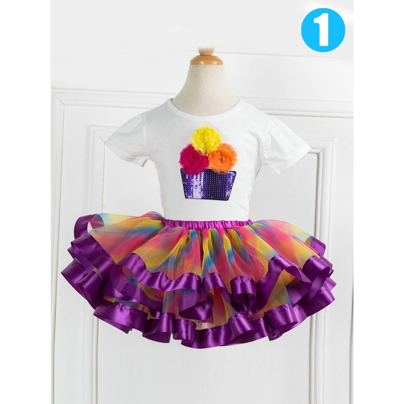 2-piece Toddler Big Girl Summer Dancing Dress Outfits Set Sequin Flower Trimmed T-shirt+Colorful Tutu Skirt