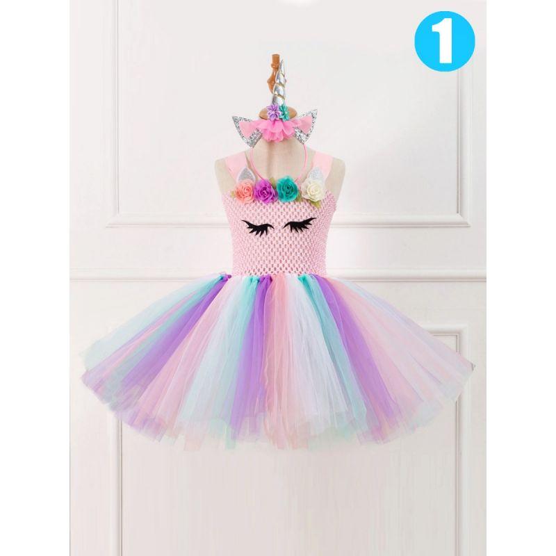 Flower Trimmed Toddler Big Girl Summer Sleeveless Unicorn Dress with Unicorn Headband for Party
