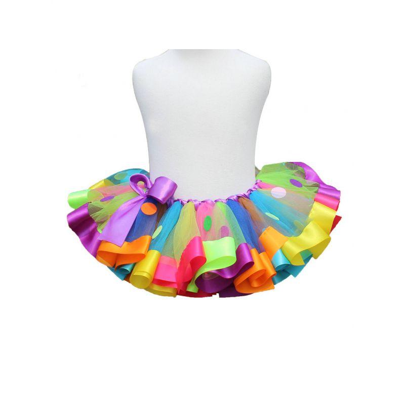 Rainbow Color Baby Big Girl Bow Dancing Tutu Pettiskirt