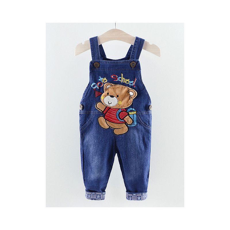 6-PACK Cute Baby Little Boys Bear Denim Bib Overalls