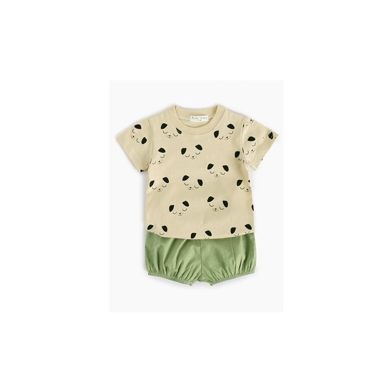 2-piece Baby Little Boys Girl Summer Casual Clothes Outfits Set Cartoon Dog T-shirt+Green Shorts