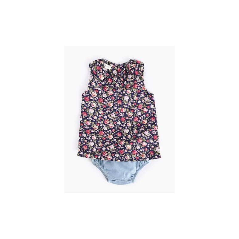 2-piece Baby Girl Summer Clothing Outfits Set Sleeveless Floral Shirt Top+Denim Panties