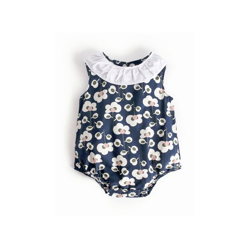 Ruffle Collar All-over Floral Print Baby Girl Summer Bodysuit