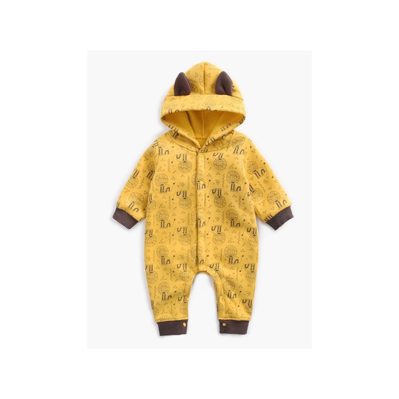 Cute Newborn Baby Cartoon Lion/Bear Fleece Winter Jumpsuit Overalls
