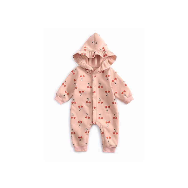 Cute Newborn Infant Girl Fleece Cherry Hooded Romper Baby Winter Overalls