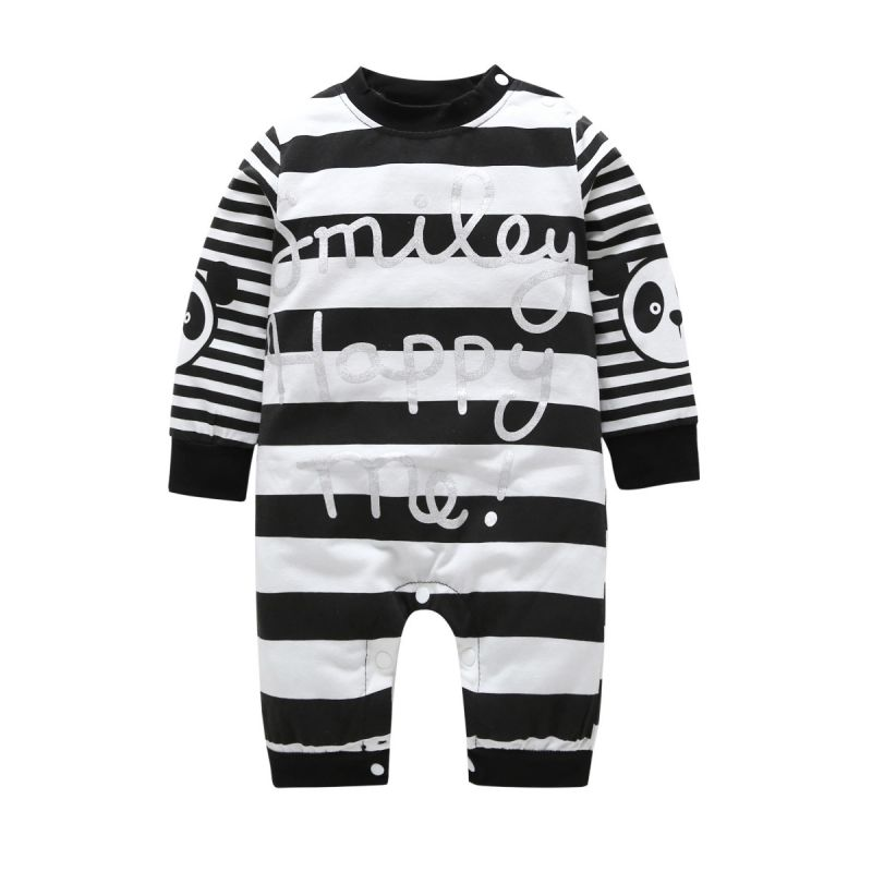 Letters Striped Panda Baby Bodysuit Overalls for Spring
