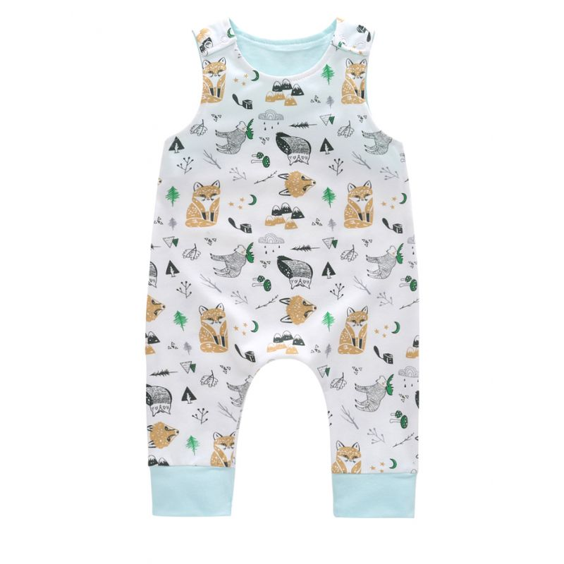 Cute Cartoon Fox Baby Boy Summer Romper Bodysuit