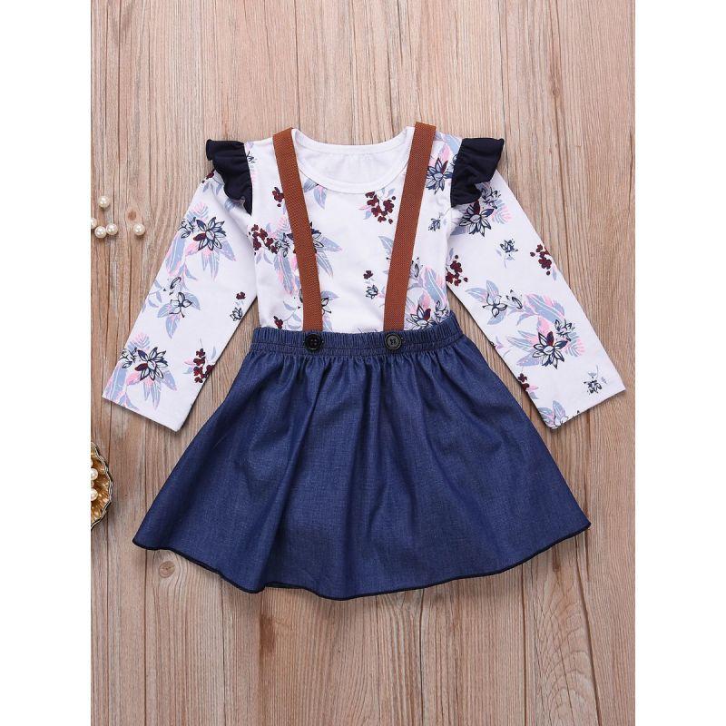 2-piece Baby Girl Spring Clothes Outfits Set Flutter Sleeve Floral Romper+Denim Jumper Skirt