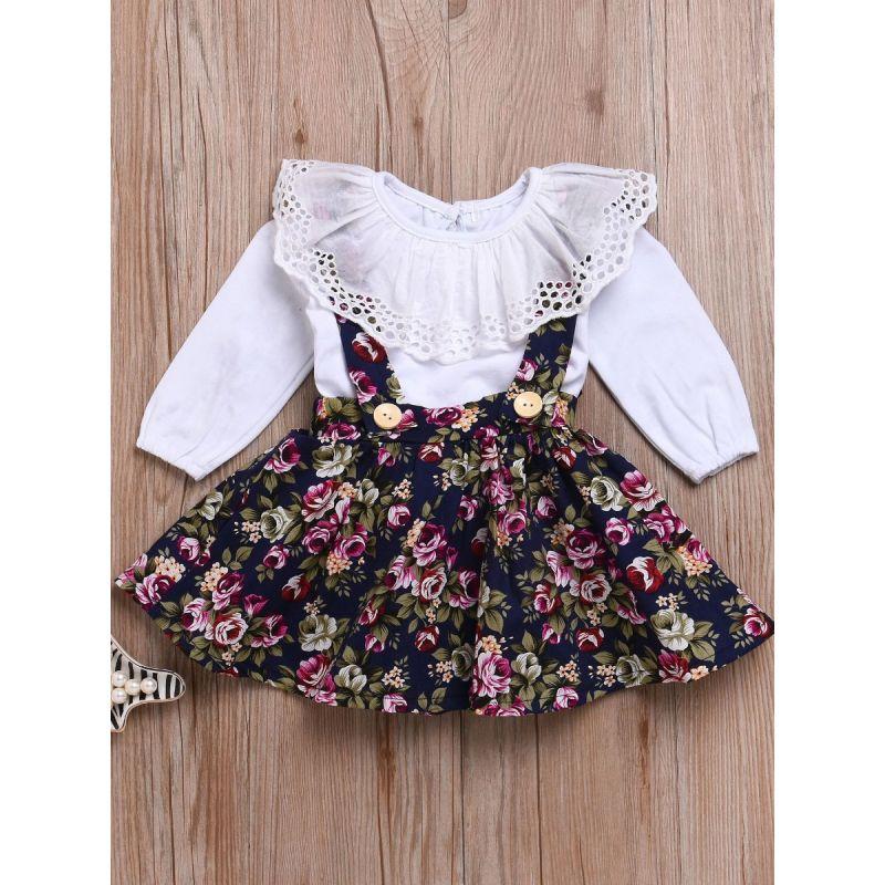 2-piece Infant Little Girl Spring Dresses Set Ruffle Collar White Shirt Top+ Flower Jumper Skirt