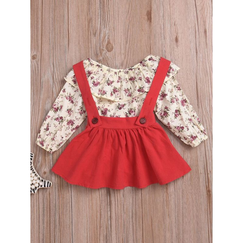 2-piece Baby Toddler Girl Spring Casual Clothing Outfits Set Flower Shirt Top+Red Jumper Skirt