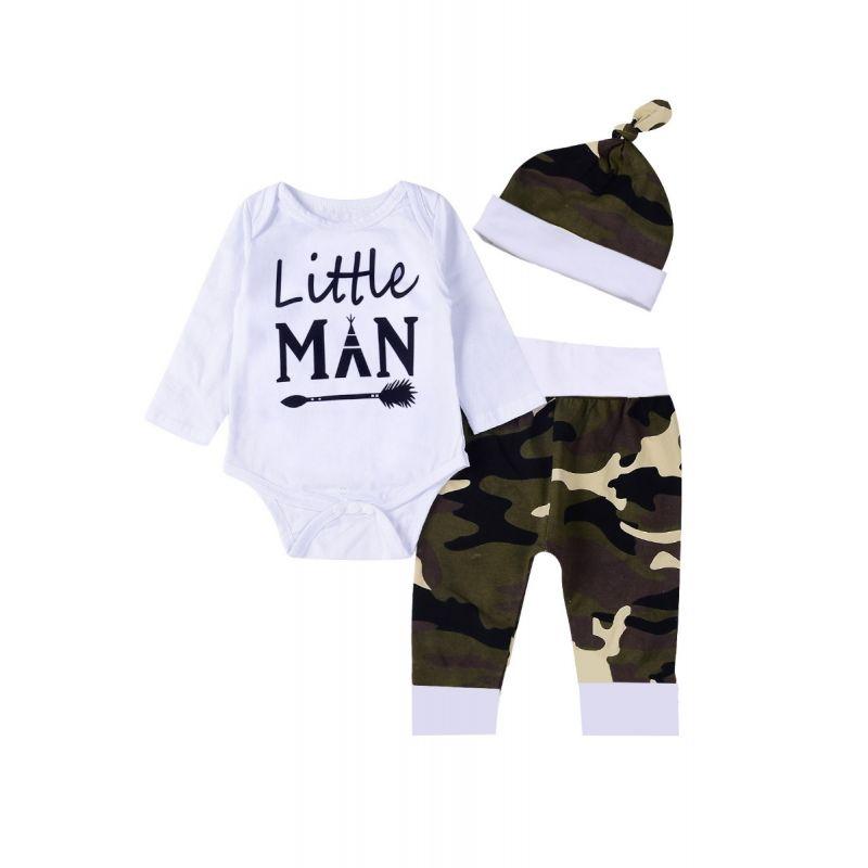 3-piece Newborn Infant Spring Romper Set Little Man Romper+Camo Pants+Hat
