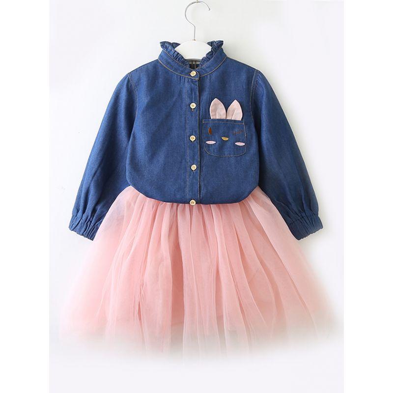 Toddler Big Girl Spring Denim Tulle Patchwork Casual Dress