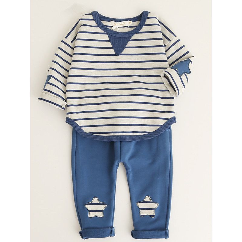 2-piece Baby Little Girl Boy Spring Casual Clothes Homewear Set Striped T-shirt+Star Sports Pants