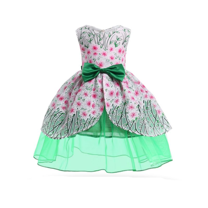 Green Big Bow Sleeveless Bodice Dress Little Big Girl Party Dress