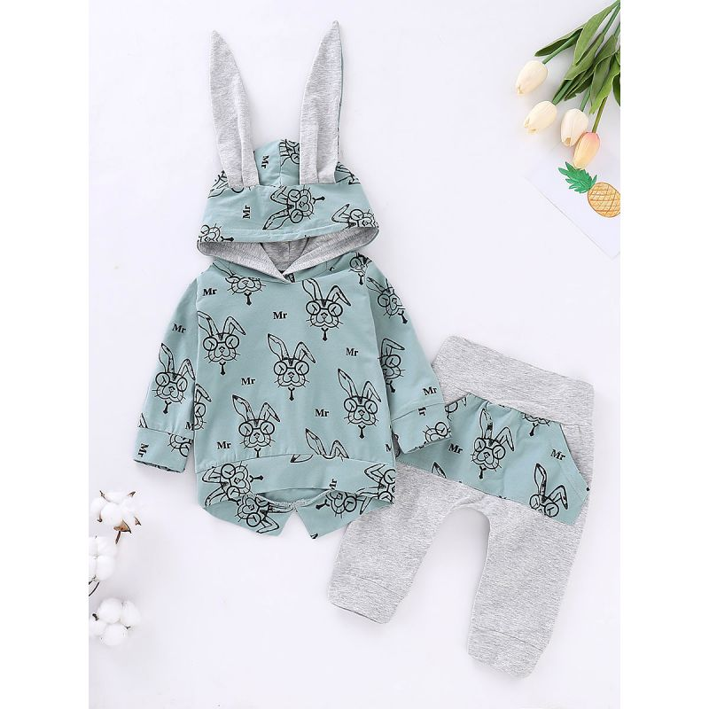 2-piece Newborn Baby Bunny Style Spring Clothes Outfits Set Bunny Hoodie+Casual Pants