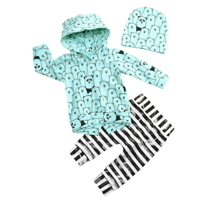 3-piece Newborn Infant Spring Clothes Outfits Set All-over Print Bear Hoodie+Striped Trousers+Hat
