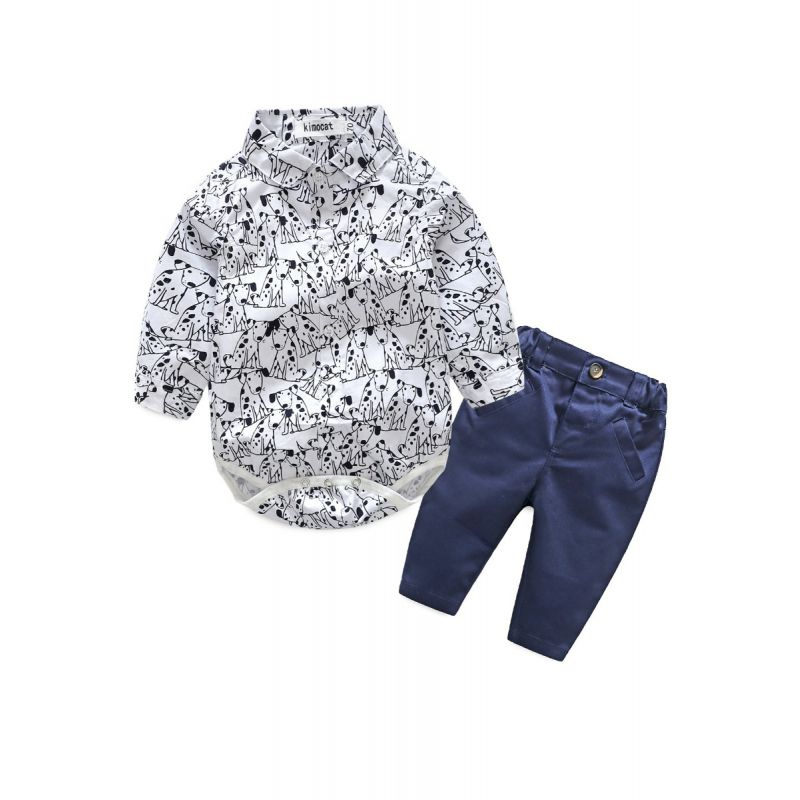2-piece Baby Spring Clothes Outfits Set Dog Onesie+Pants