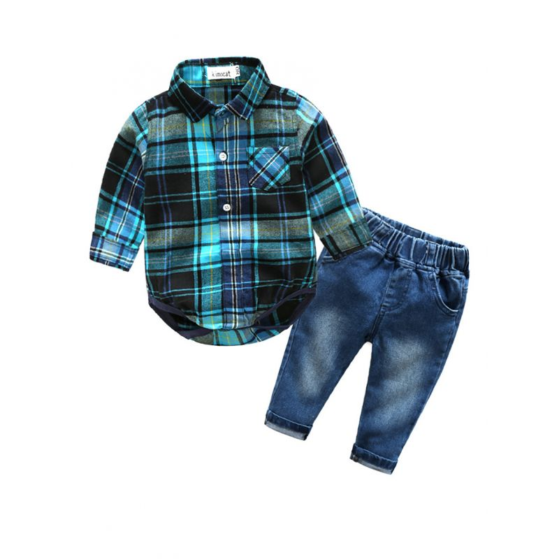2-piece Baby Boys Spring Casual Clothes Outfits Set Plaid Bodysuit +Jeans