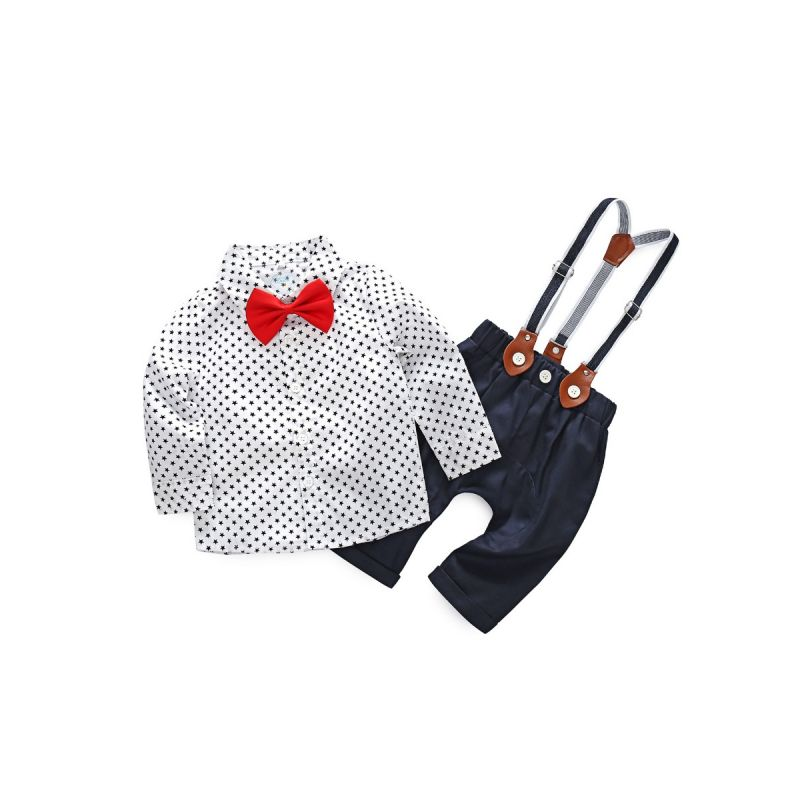 3-piece Baby Boy Classic Gentleman Clothes Outfits Set Star T-shirt with Bowtie+Suspender Pants