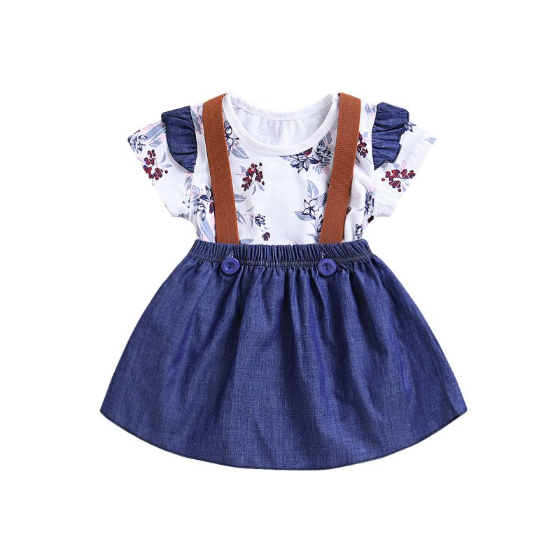 2-piece Baby Girl Summer Clothes Outfits Set Flutter Sleeve Floral Bodysuit+Denim Jumper Skirt