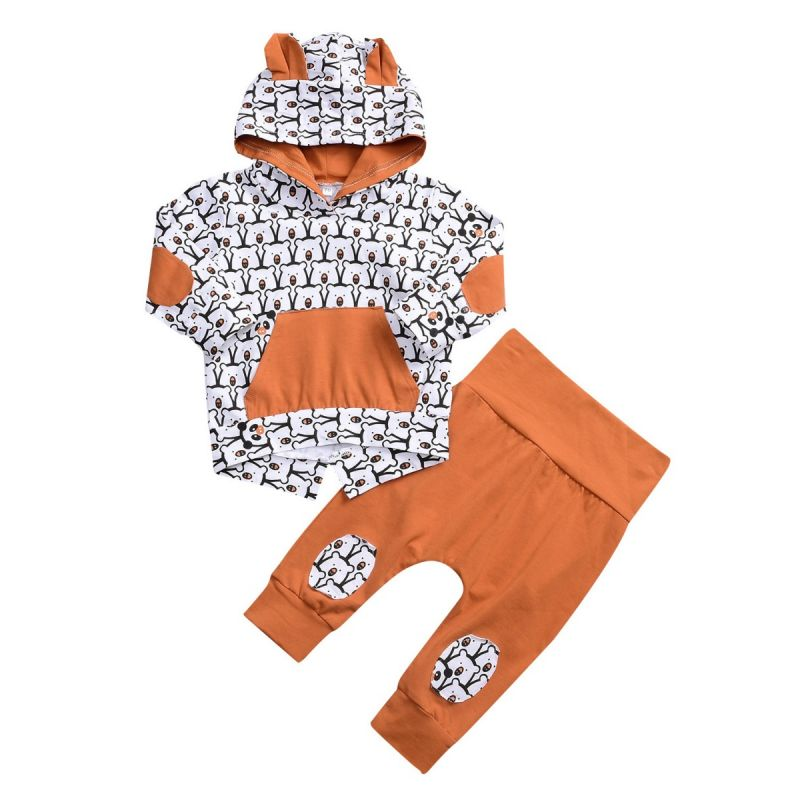 2-piece Baby Boys Girls Spring Casual Clothes Outfits Set Bear Style Hoodie +Trousers