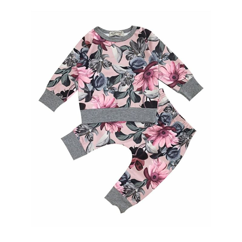 2-piece Baby Girl Spring Casual Floral Pullover+Pants Set