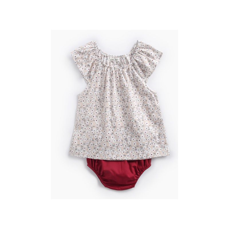 2-piece Infant Girl Summer Beach Clothes Outfits Set Short Sleeve All-over Floral Print Onesie+Red Panties