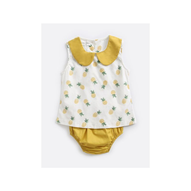 2-Piece Infant Girl Summer Casual Clothes Outfits Set Peter Pan Collar Pine Apple Print Sleeveless Shirt+Yellow Panties