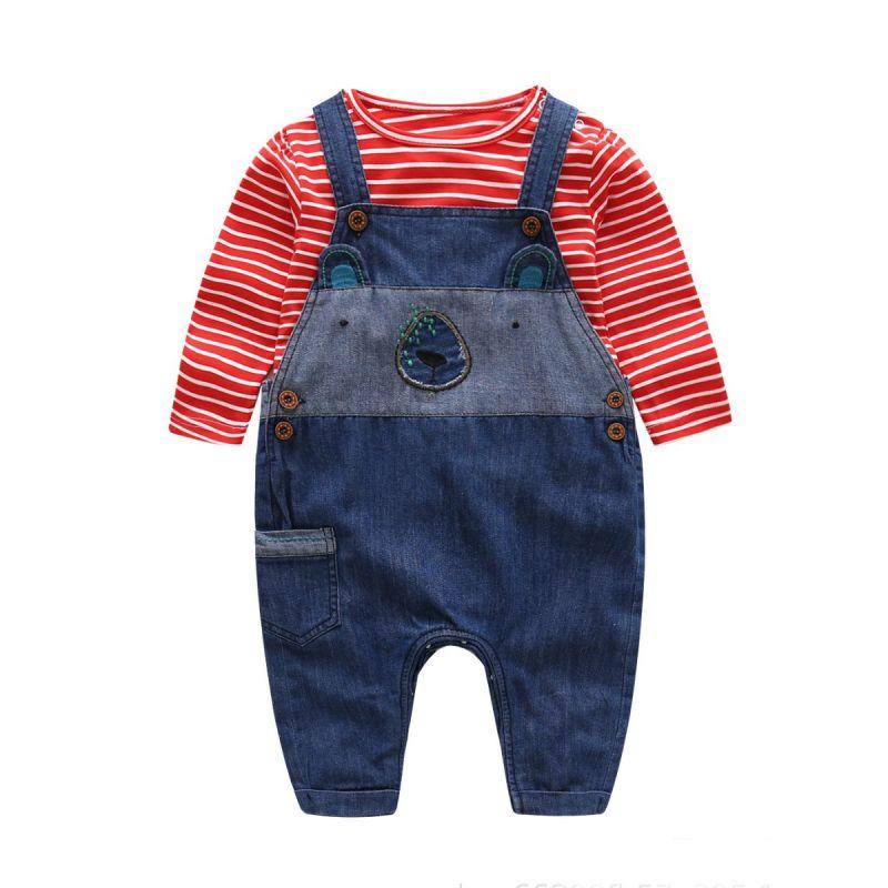 2-Piece Newborn Baby Boy Spring Clothes Outfits Set Red & White Striped T-shirt+ Cartoon Style Denim Bib Overalls