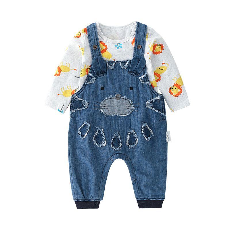 f289ee0032a8 2-piece Newborn Infant Boy Spring Clothing Outfits Set Cartoon Lion Onesie  + Cartoon Style