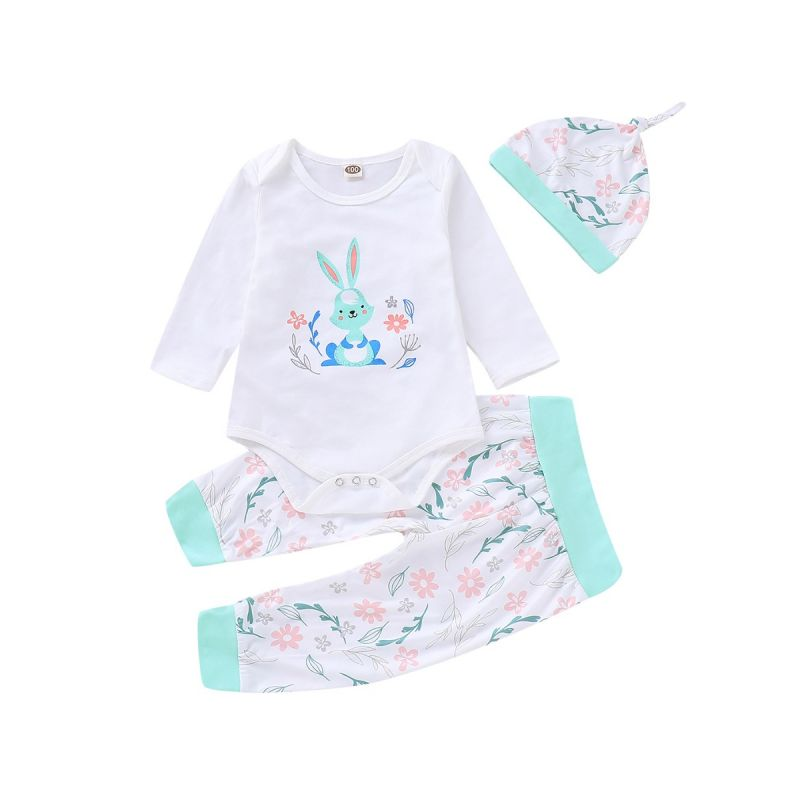 3-piece Baby Girl Easter Clothes Outfits Set Bunny Romper+Floral Pants+Hat