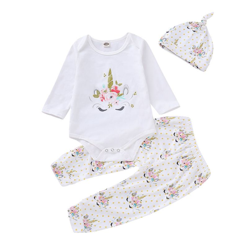 3-piece Baby Girl Unicorn Casual Homewear Set Unicorn Flower Bodysuit+Star Pants +Hat