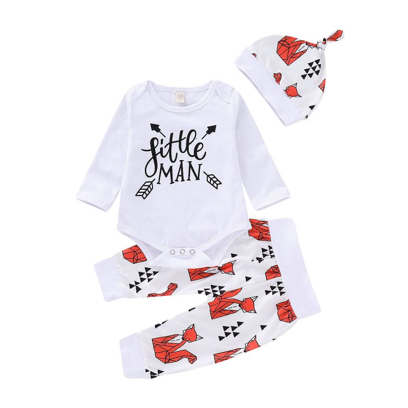 3-piece Baby Boys Spring Little Man Onesie +Fox Pants+Hat Outfits Set