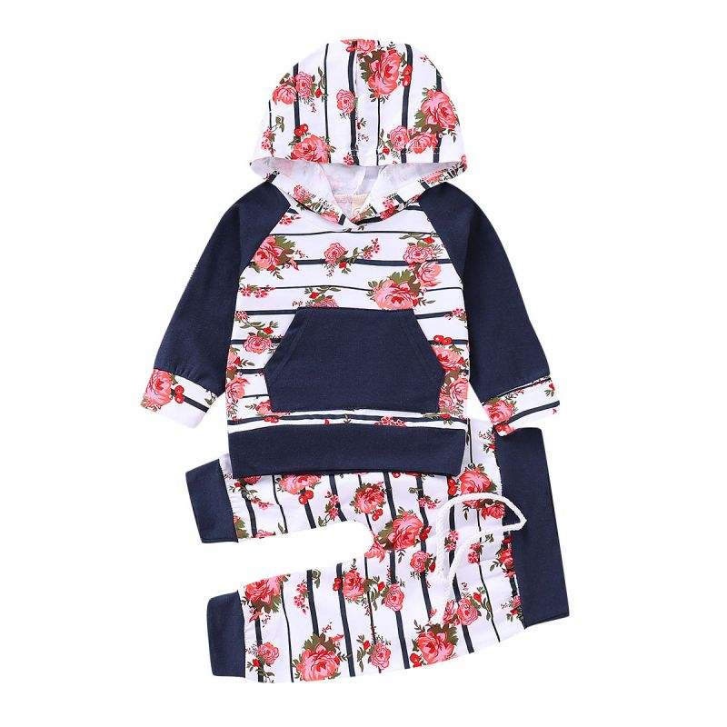 2-Piece Baby Girl Spring Sports Casual Clothes Outfits Set Flower Hoodie with Kangaroo Pocket+Floral Trousers