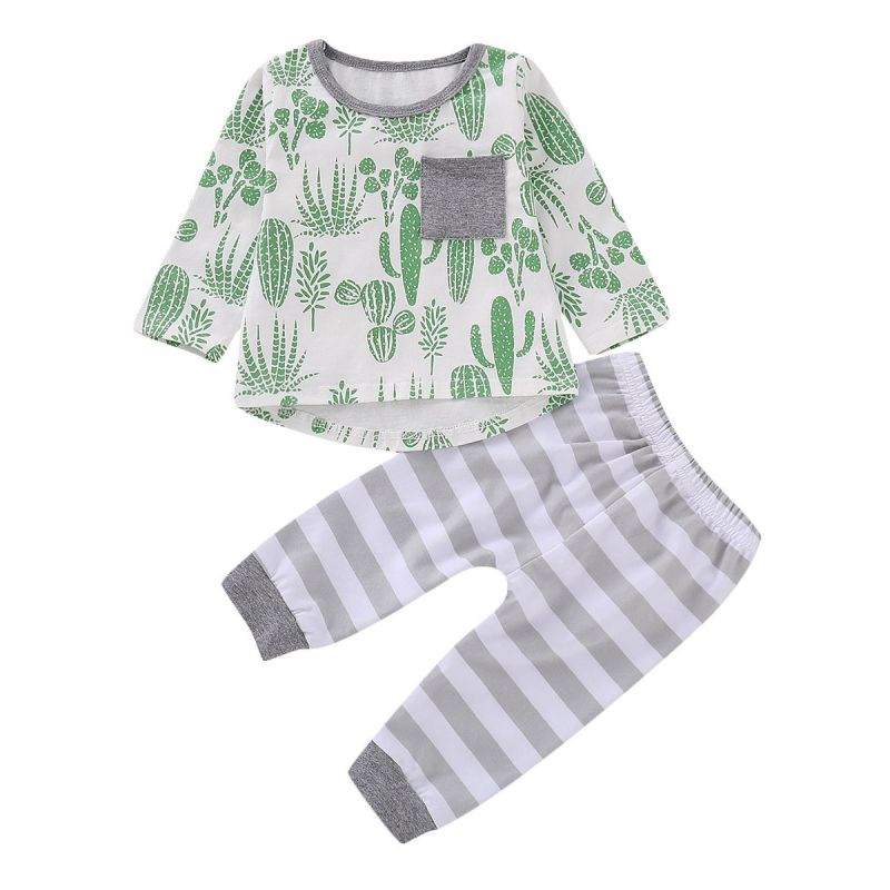 2-piece Baby Casual Homewear Clothing Outfits Set Cactus Print T-shirt +Striped Pants