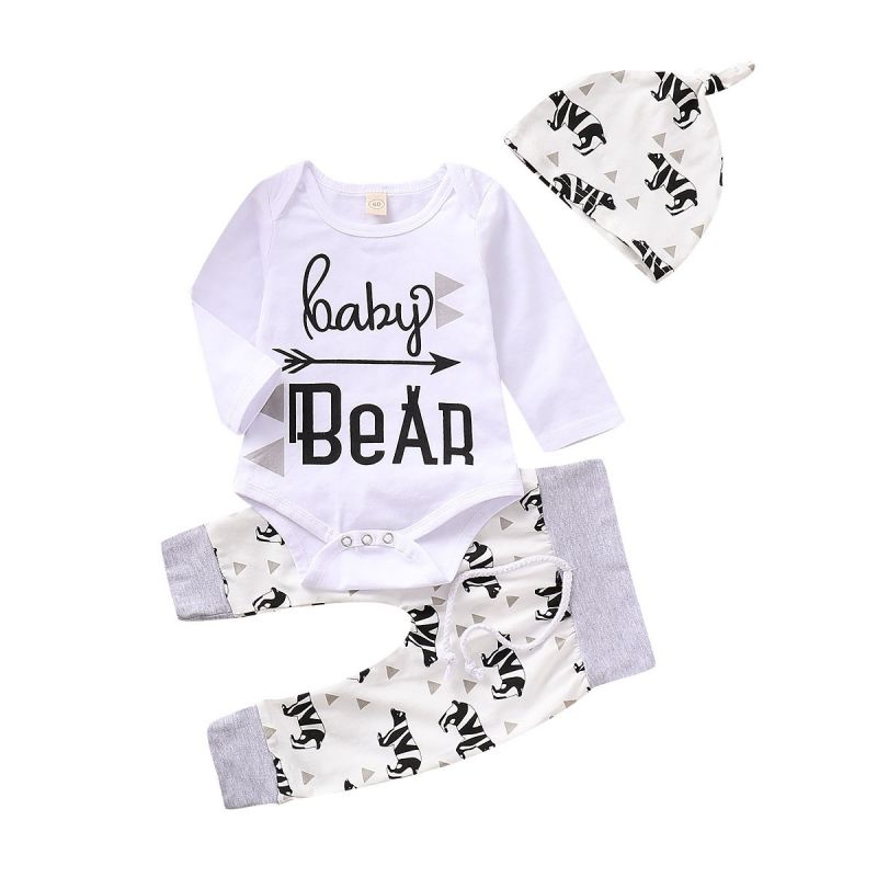 3-piece Baby Spring Clothes Outfits Set BABY BEAR Romper+Bear Pants+Hat