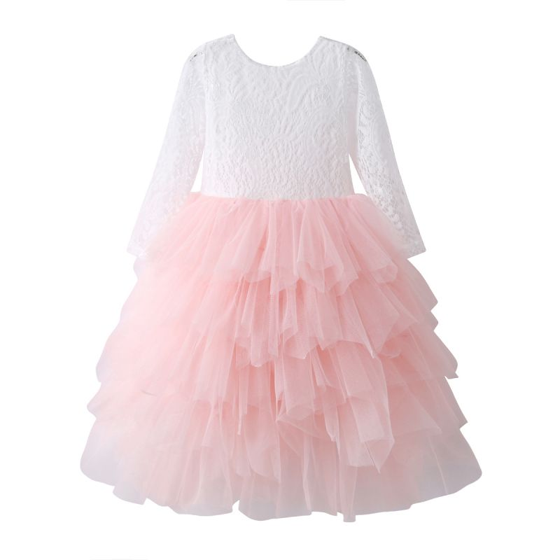 Flower Girl Dress with Illusion Sleeves & Tulle Princess Party Dress