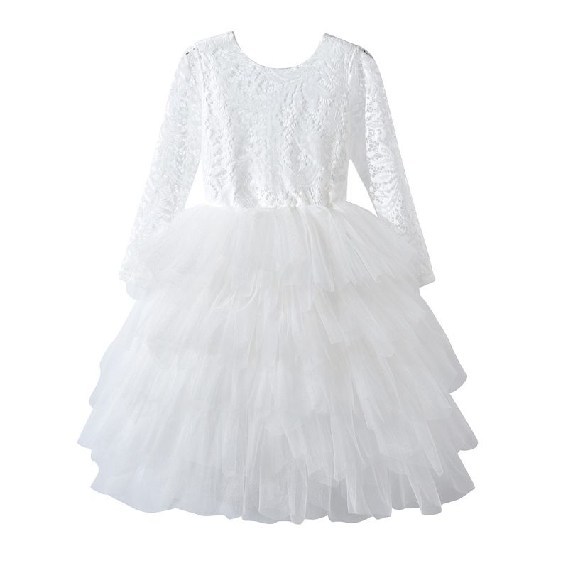 First Holy Communion Dress White Illusion Lace Sleeves Baptism Dress Christening Gown