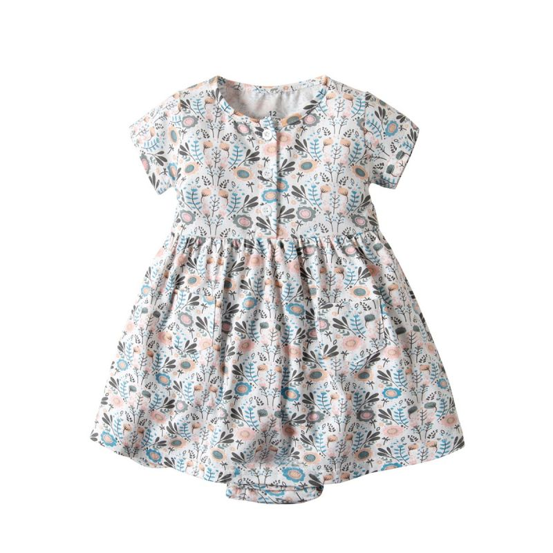 Buttoned Floral Baby Girl Summer Romper Dress