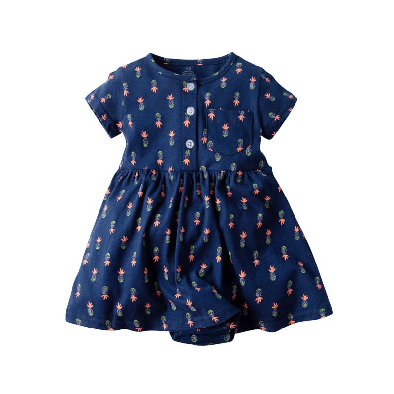 Buttoned All-over Pineapple Print Infant Girl Summer Romper Dress