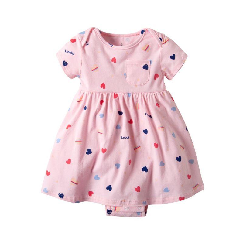 Love Heart Infant Girl Short Sleeve Bodysuit Dress