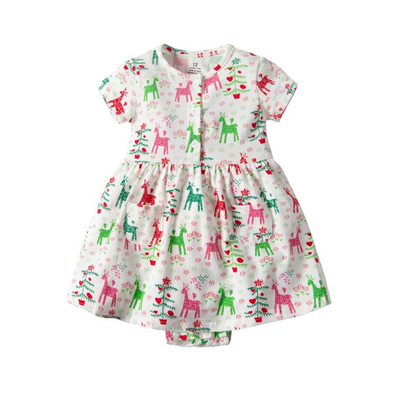 Christmas Deer Print Baby Girl Summer Romper Dress