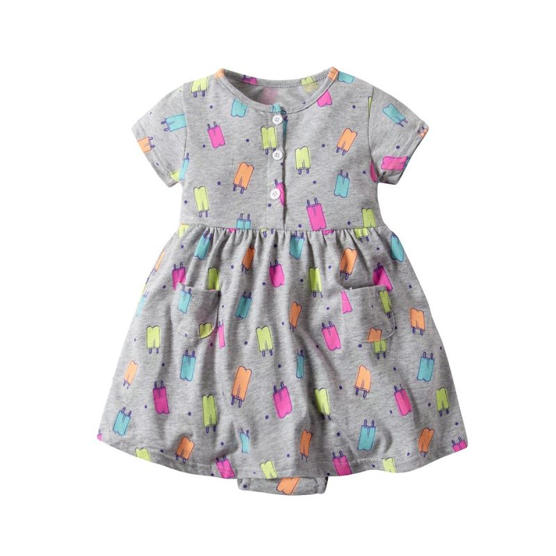Ice Lolly Print Baby Girl Short Sleeve Romper Dress