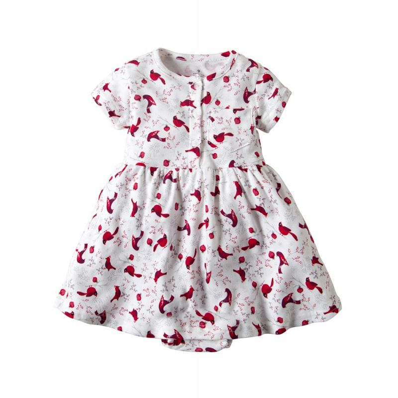 Infant Girl Summer Birds Print Cotton Romper Dress