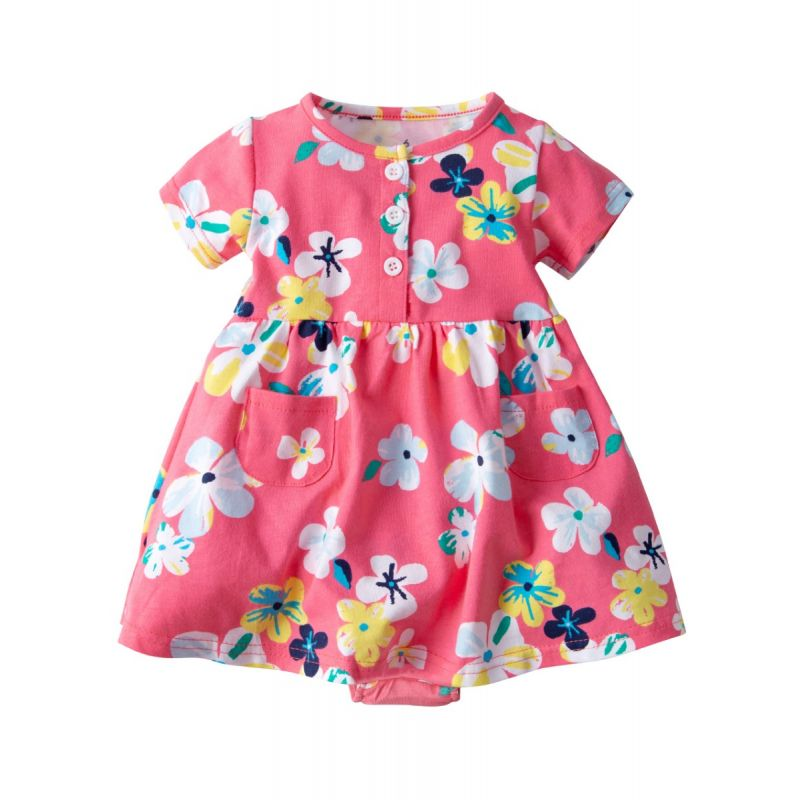 Adorable Baby Girl Buttoned Floral Bodysuit Dress