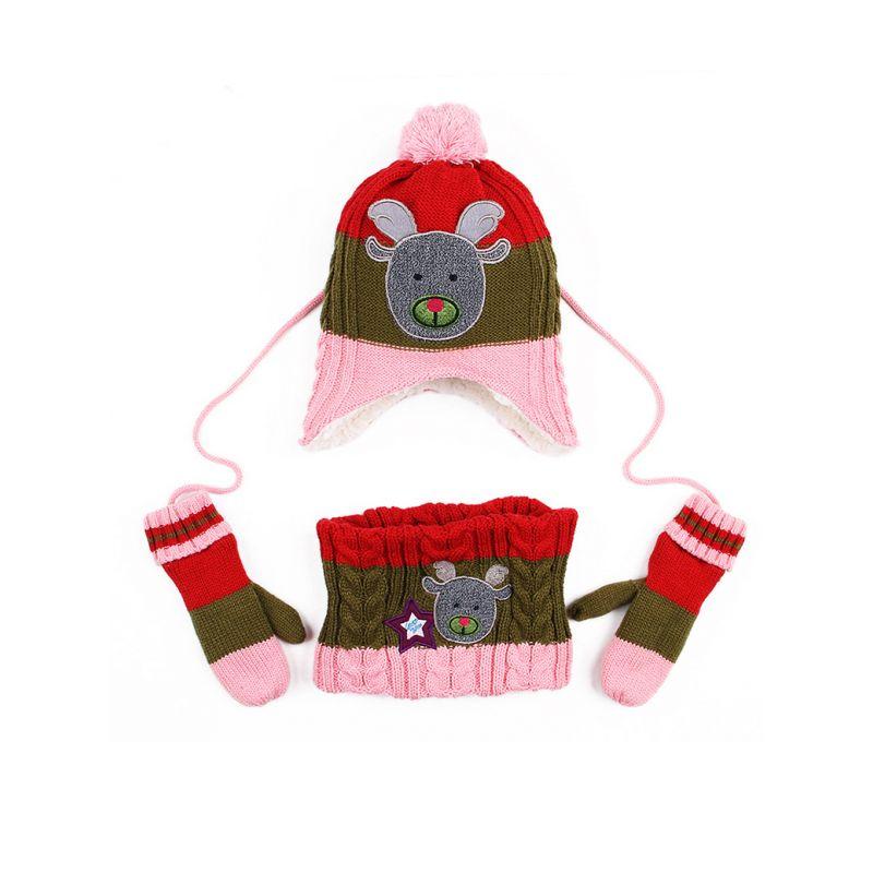 3-piece Toddler Big Boys Girls Cartoon Christmas Winter Fleece Earflap Hat+Fleece Gloves+Scarf