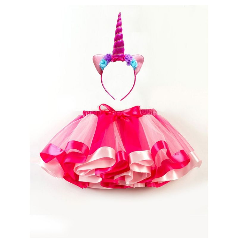 Chic Little Big Girl Bow Colorful Dancing Tutu Pettiskirt with Unicorn Headband Kids Party Wear