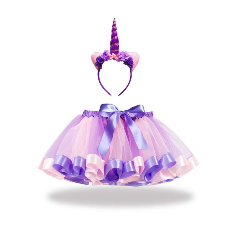Fashion Toddler Big Girl Bow Color-blocking Party Tutu Pettiskirt with Unicorn Headband